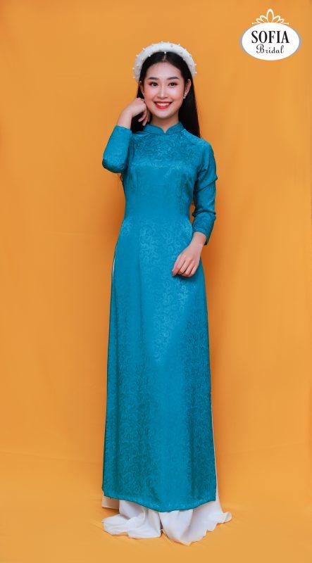 áo dài cưới màu xanh