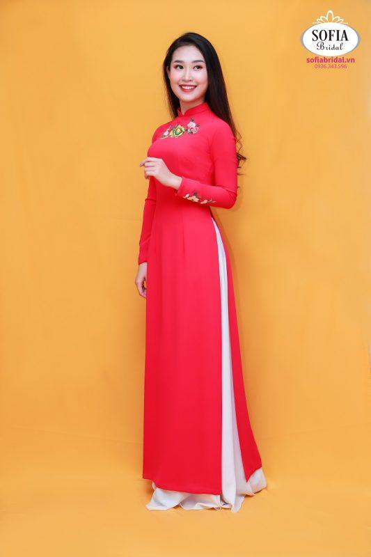 Áo dài cô dâu màu hồng Phong Cách Hiện Đại, Tinh Tế,