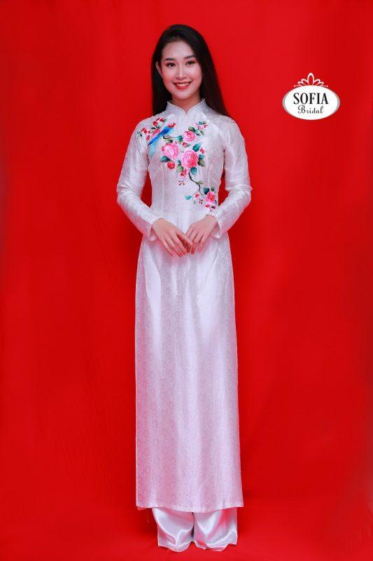 Áo dài cưới hỏi Hoa thêu tay truyền thống