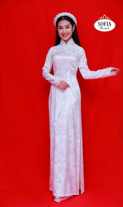 Những kiểu áo dài cưới gấm