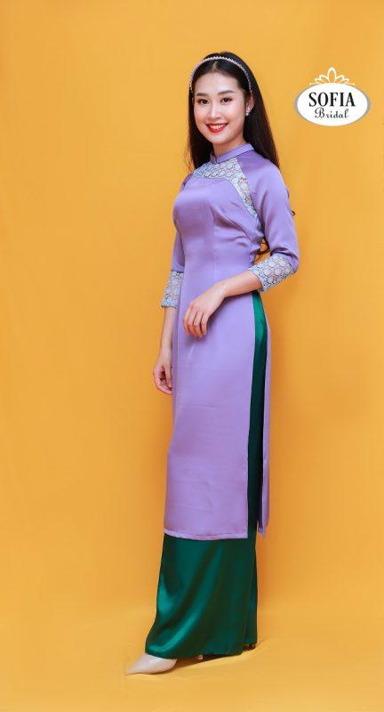 áo dài cách tân tay ngắn với quần ống rộng