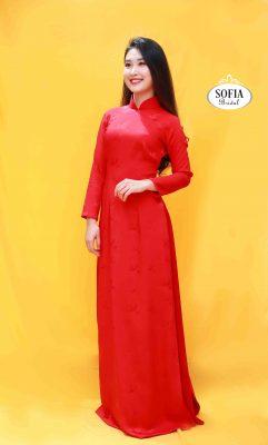 áo dài quý bà màu đỏ