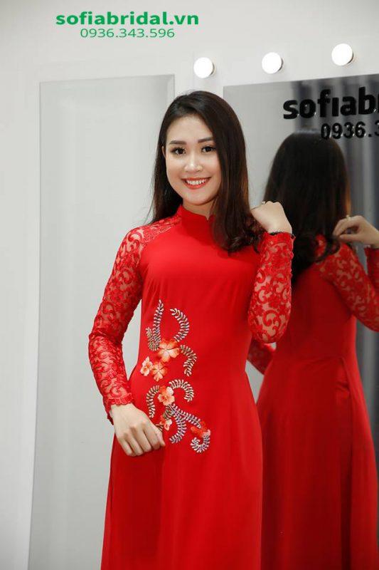 áo dài cô dâu màu đỏ đẹp nhất năm 2020
